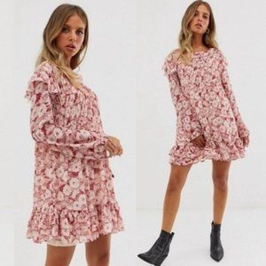 Free People These Dreams Floral Mini Dress Red M